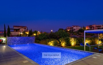 11m x 5m swimming pool lit at night