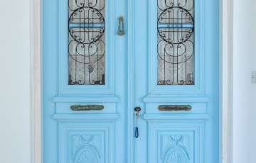 Handmade wooden front door