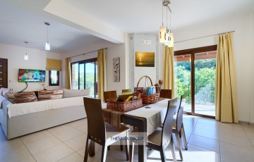 Patio doors from the living and dining area lead to the outside terrace